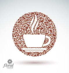 Flower-patterned cup of coffee with aromatic steam vector