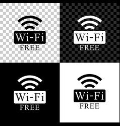 Free wi-fi icon isolated on black white and vector
