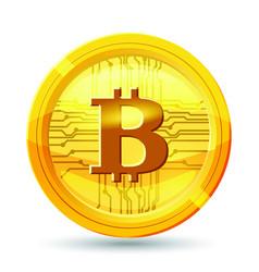 golden bitcoin coin crypto currency golden coin vector image