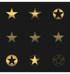 Golden star set vector