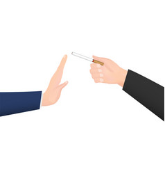 hand give cigarette to refuse smoke hand vector image