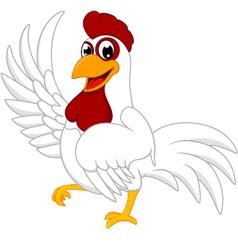 Happy White Chicken vector image