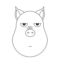 head of annoyed pig in outline style kawaii vector image