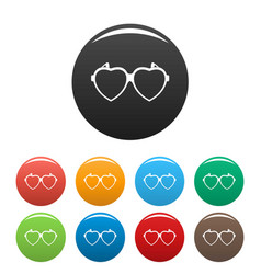 heart eyeglasses icons set color vector image