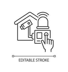 Home alarm system linear icon vector