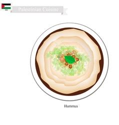 Hummus or Palestinian Chickpeas Spread Dip vector
