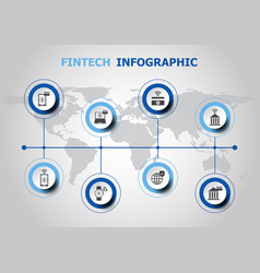 Infographic design with fintech icons vector