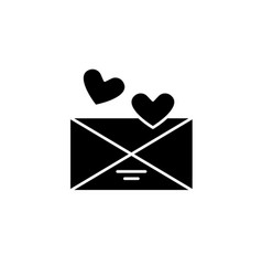 love message black icon sign on isolated vector image