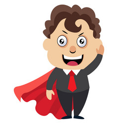 man with red cape on white background vector image