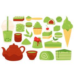 Matcha tea and sweets japanese green vector