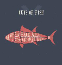 Meat cuts - fish diagrams for butcher shop vector
