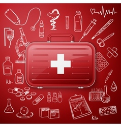 medical chest and hand draw medicine icon vector image