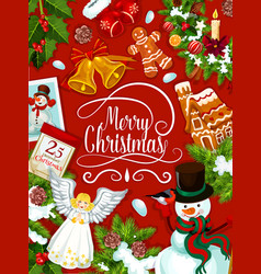 merry christmas decorations greeting card vector image