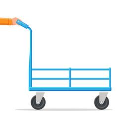 Metallic four wheeled trolley hand truck vector