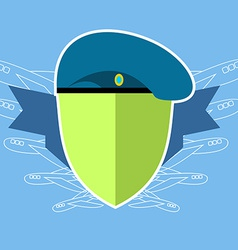 Military emblem Shield with the aircraft Blue vector