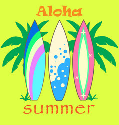 modern colorful surfboard set vector image