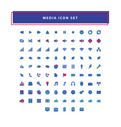 modern media collection icon set with filled vector image