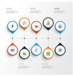 Multimedia icons colored line set with drum vector