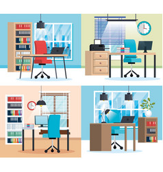 Office workplaces scenes icons vector