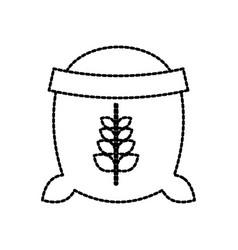 Open sack of wheat full flour grain farm vector