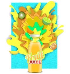 paper cut tropical fruit juice drink vector image