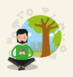People smartphone device vector