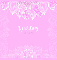 pink wedding romantic card with waves vector image vector image