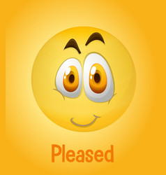 Pleased faces emoji with its description on vector