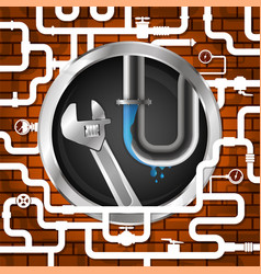 plumbing wrench and plumbing pipes vector image