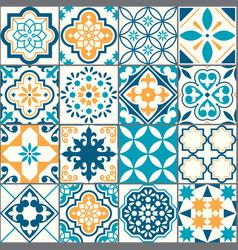Portuguese azujelo seamless tile pattern vector
