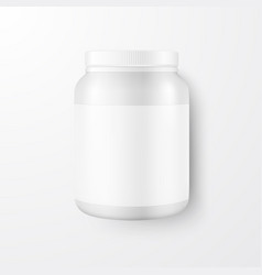 realistic 3d white plastic jar can with vector image