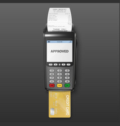realistic black 3d payment machine pos vector image