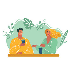 romantic loving couple drinking coffee vector image