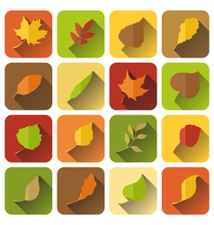 set of autumn icons with long shadow vector image
