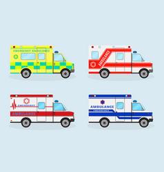 set of four emergency ambulance cars ambulance vector image