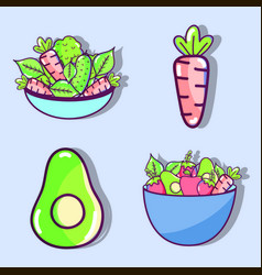 Set of vegetables and fruits organ food vector