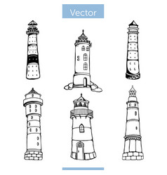 Set six beacons in black and white colors vector