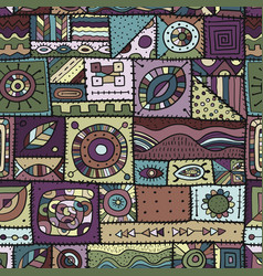 Sewn pieces fabric in a patchwork style ethnic vector