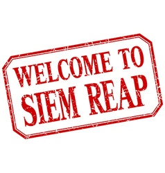 Siem Reap - welcome red vintage isolated label vector
