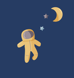 Single astronaut and moon in a open space flat vector