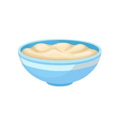 Soft bean curd in a bowl healthy diet food vegan vector