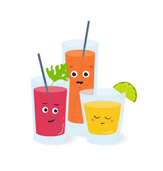soft drinks in glasses with cute funny faces vector image