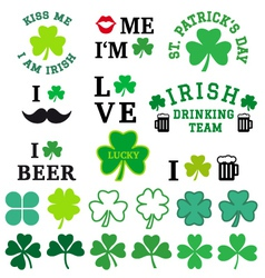 St patricks day clover set vector