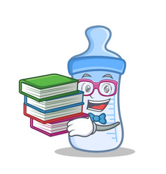 Student with book baby bottle character cartoon vector