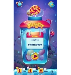 Sweet world mobile GUI level completed screen for vector image