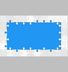 the blue background puzzle jigsaw puzzle banner vector image
