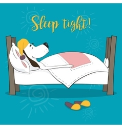 The lovely animation dog sleeps in a bed Wish vector
