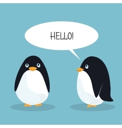 Two ridiculous animation penguins welcome each vector