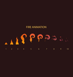 vfx effect storyboard fire animation sprites vector image