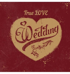 vintage love heart Wedding decoration vector image